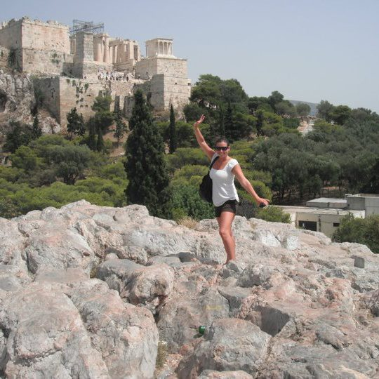 That's me on my honeymoon in Athens, Greece. The Acropolis is behind me.